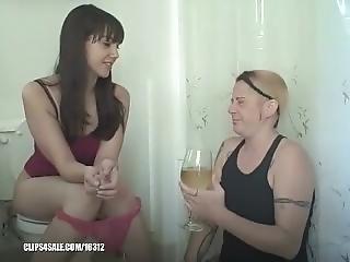 Lesbian Slave Drinks A Glass Full Of Warm Urine