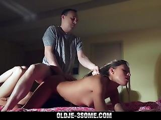 Mature Man Fucks By Two Innocent Young Girls In Teen Threesome Old Young