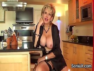 Cheating British Mature Lady Sonia Displays Her Heavy Breasts