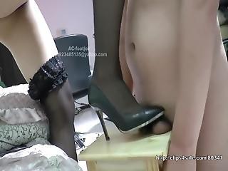 Chinese Femdom -black Stocking High-heel Shoes Cock Crush -