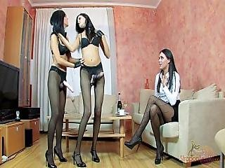 Straponcum Breakfast With Strap-on Maids. Blowjob.