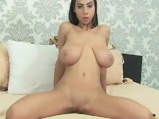 Extremely Busty Petite Riding Dildo