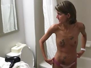 Drunk Skinny Wife Caught Pissing