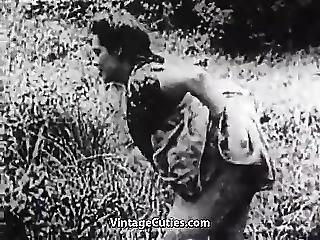 Hard Sex In Green Meadow 1930s Vintage