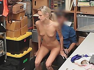 Pretty Skinny Blonde Babe Gets Banged For Shoplifting