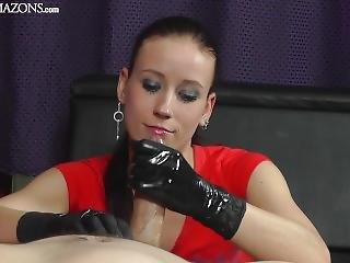 Mistress Annette In Black Latex Gloves Handjob