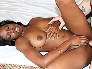 Busty Black Amateur On White Dick