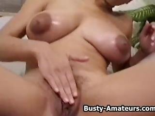 Busty Amateur Gia Strips And Masturbates Her Pussy