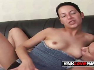 Milf Gets Her Titties Sucked By Her Diaper Wearing Kinky Buddy
