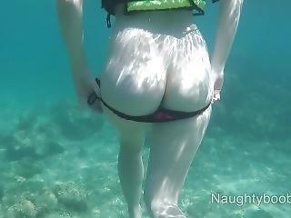 Public Exhibitionist German Teen With Big Boobs On The Sea Naughtyboobydick