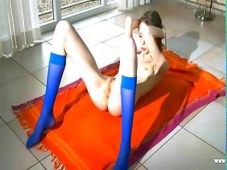 Blue Socks And Gaunt Hairy Pussy