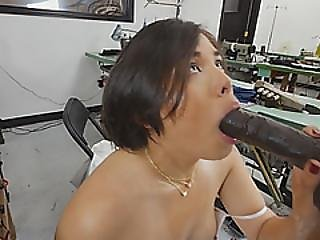 Dirty And Horny Japanese Bitch Slammed Hard By Muscular Black Guy