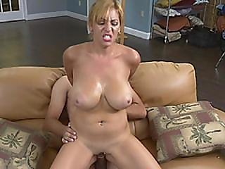 Busty Blonde Riding Long Cock Like Cowgirl On Couch