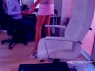 redhead in short dress show pussy in office legs heels  - Watch Part2 on