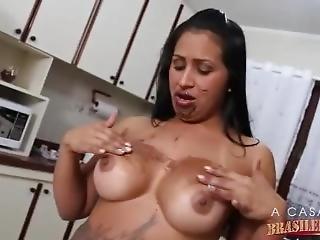 Brazylijka, Brunetka, Masturbacja, Solo