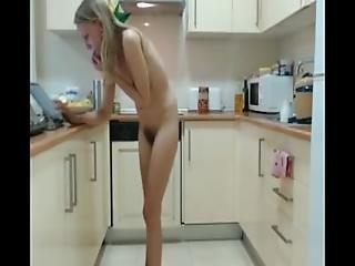 Beauty Blonde Teen Girl Strips In Kitchen