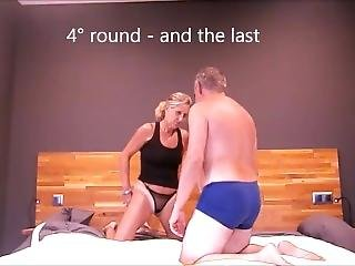 Wife Pins Husband In Wrestling Match And Pumps Biceps