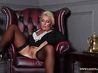 Horny Blonde Milf Finger Fucks Tight Moist Pussy In Nylons