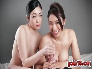 Japanese Pornstar Handjob And Cumshot