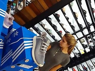 Candid Voyeur Hot Blonde Milf Sneaker Shopping