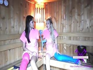Fetisch Concept Com 2 Girls With Long Cast Leg In Sauna