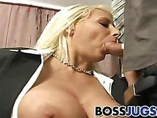 Funny busty boss boob that video,never