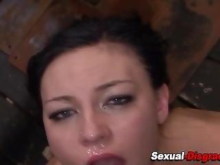 Gagged Slut Gets Facial