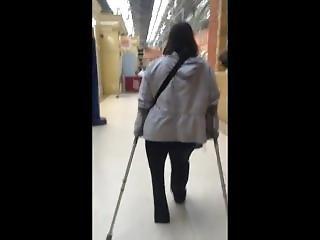 Lhd Amputee Woman Crutching