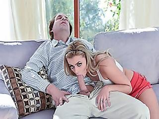 Cara Stone Sucking Big Daddy Cock On The Couch