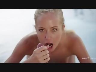 brud, blondin, avsugning, brunett, samling, cumshot, pool, porrstjärna, pov, ung