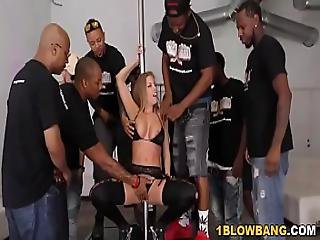 Busty Britney Amber Sucks Many Black Dicks
