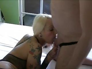 Blond Big Tit Smoking Blowjob