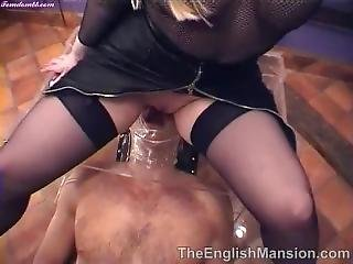 English Mistress Pissing Her Slave