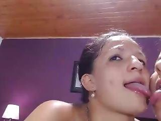 Dirty Lesbian Girls Play With Spit And Milk!