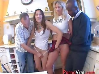 Big Orgy With Two Sluts Milf In The Kitchen Of An Amateur French Amateur