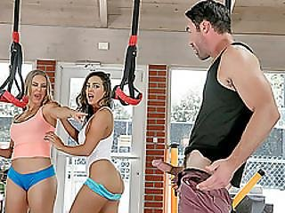 Busty Stunners Abigail Mac And Nicole Aniston Sex In The Gym