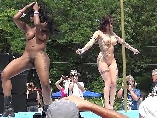 Americano, bailar, desnudo