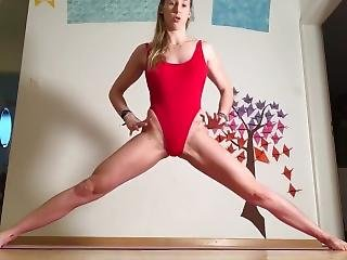 Rhyanna Watson - Hip Flexors Strength & Flexibility [red Leotard/swimsuit]