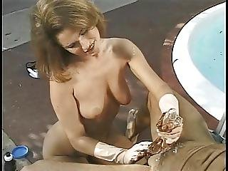 Blowjob, Gloves, Handjob, Interracial, Outdoor