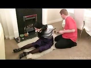 Cute Girl Taped Up And Cleave Gagged By Intruder