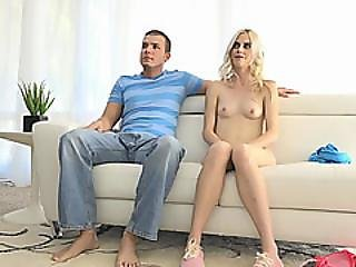 Skinny Blonde Rookie Gets Tight Pussy Licked During Casting