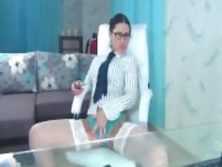 anal, brunett, damunderkläder, sekreterare, sex, solo, webcam
