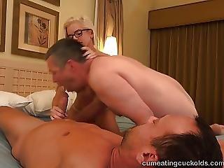 バイセクシュアル, フェラチオ, クリーム, クリームパイ, 陰茎, 年寄り, 吸う, 3P
