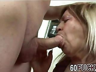 Hot Granny Sucks And Rides Young Cock For Cum