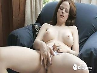 Sexy Cougar Janessa Masturbates Furiously In A Chair
