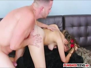 Tight Blonde Teen Girl Brooke Lynn Pounded On The Couch