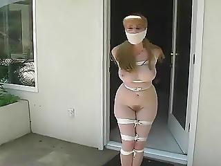Tied Naked Girl Hops Outside