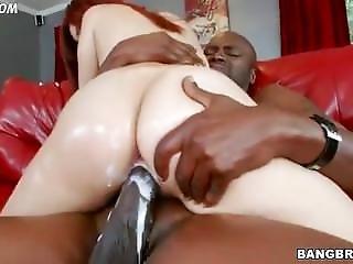 Big Booty White Girl Creams While Riding A Big Black Dick