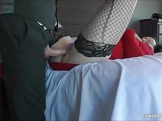 Quickie,dripping Creampie & Licking Cum On Floor Before New Years Eve Party