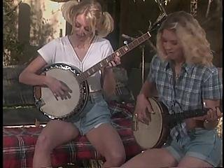 Banjo Playing Blonde Tramps With Nice Tits Are Fucked By Lucky Redneck On Farm